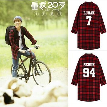 2017 Special Offer Sale Trench Trench Coat Men Kpop Coat Plaid Exo Luhan Baekhyun Sehun Kris Long-sleeved Hoodiekpop Clothes
