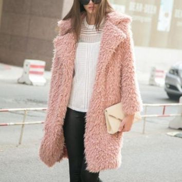 DCCK8H2 Pink Faux Fur Coat