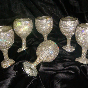 Custom designed handmade set of wine glasses with Czech rhinestones
