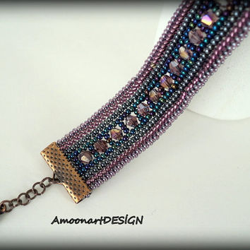 Bracelet Handmade Beadwork Jewelry  Harringbone Stitched  with Seed Beads and Crystals (B-3)