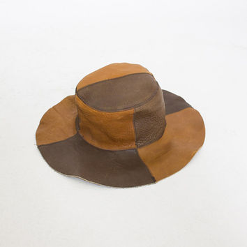 Vintage 1970s Hat - Brown Suede Leather Patchwork Wide Brim Boho Hippie Festival 70s