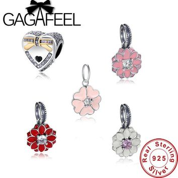 GAGAFEEL Original 925 Sterling Silver Radiant Orchid Flower Heart Daisy Pendant Bead Fit Charm Bracelet Jewelry Accessory Making