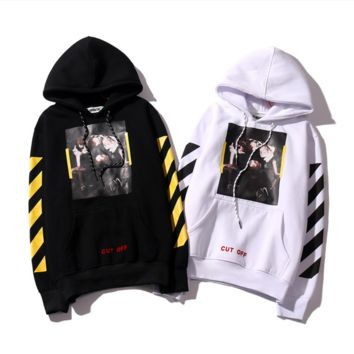 Off white new models of the base section of oblique striped cotton men and women Hooded sweater coat tide