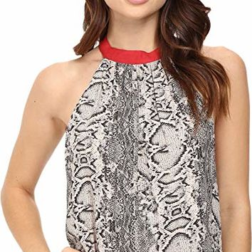 Womens Open Back Printed Casual Top