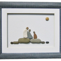 Original pebble art family gift-unique framed art -birthday, new baby, new home gift-personalized wall art -rustic frame-beach stone artwork