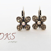 Serendipity, Swarovski Flower Lever Back Drop Earrings, Greige, Petite, Sparkle, DKSJewelrydesigns, FREE SHIPPING