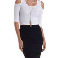 Ribbed Cold Shoulder Crop Top by Charlotte Russe
