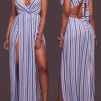 Blue-White Striped Cut Out Tie Back V-neck Double Slit Club Maxi Dress