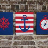 Nautical Hand Painted Paintings Set - Anchor, Compass, Ship Wheel - Wall Decor Art for Nursery, Kids Room - You customize!