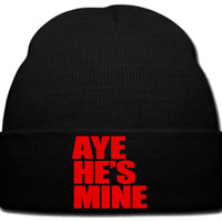 AYE HE IS MINE RED beanie knit hat