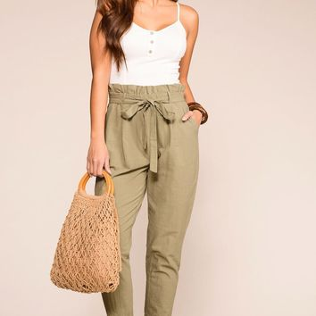 Belle Sage Highwaisted Paperbag Pants