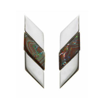 Sterling Silver Chevron Boulder Opal Earrings
