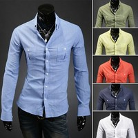 Men's Long Sleeve Double Pocket Solid Color Linen Shirts by martEnvy