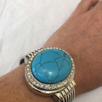 Covered Vintage Style Composite Turquoise Bangle Cuff Bracelet Locket Watch