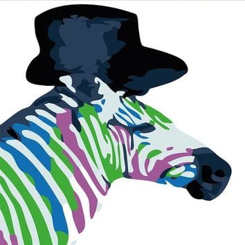 Top Hat Zebra DIY Kids Paint By Numbers Kit: Includes Acrylic Paints, Brushes and Canvas with Frame Option