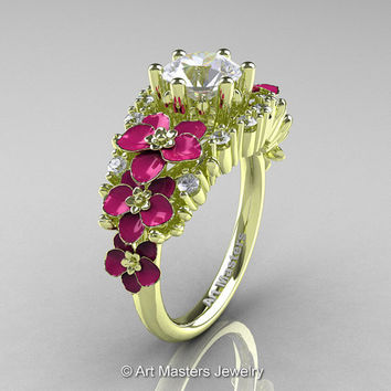 Nature Classic 18K Green Gold 1.0 Ct White Sapphire Diamond Pink Orchid Engagement Ring R604-18KGGDPWS