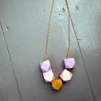 Geometric Necklace - Hand Painted necklace with Wooden Pink, Gold & Lilac Statement Necklace Gift for her gold necklace