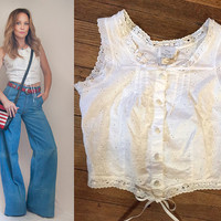 80s White Eyelet Lace Crop Top Tank Blouse | Boho Corset Lace-up White Lacy Crop Top Tank Top | Hippie 70s Style Festival Peasant Top Blouse