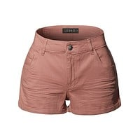 Casual Summer Medium Rise Rolled Cuffs Shorts with Pockets (CLEARANCE)