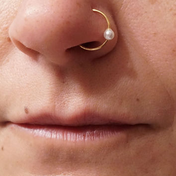 White Opal Rose Gold Nose Ring L Bend from midnightsmojo Epic