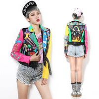 Graffiti Pattern Leather Jacket