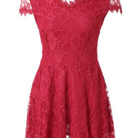 Red Floral Print Backless Short Sleeve Lace Mini Dress