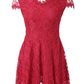 Red V-Neck Short Sleeve Lace Dress