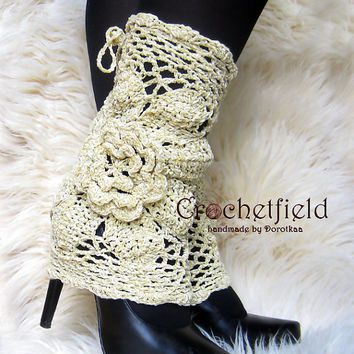 Beige Leg warmers, boot cuffs, lace boot socks, Crochet Dance / Ballet Leg Warmers,fitness boot socks,Gift for her Women's Fashion Accessory