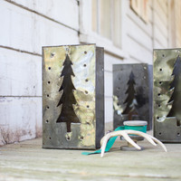 set of 6 tin tree luminaries