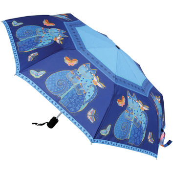 "Laurel Burch Compact Umbrella 42"""" Canopy Auto Open/Close-Indigo Cats"
