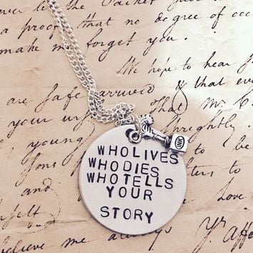 Hamilton Broadway History Has Its Eyes In You Lyrics Who Lives Who Dies Charm Necklace