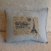 Vintage ticking paris pillow/ farmhouse decor, cottage pollows/ blue strip pillows