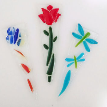 Fused Glass Garden Plant Stakes - Dragonfly - Rose - Butterfly - Garden Ornament - Flower Pot Ornament - Housewarming Gift - Gardener Gift