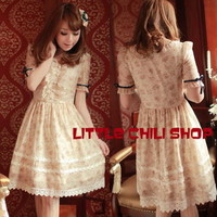 029 Kawaii Trendy Princess Cute Sweet Dolly Gothic Punk Lolita Floral Dress