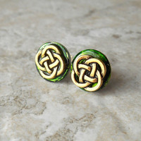 celtic knot earrings: green - stud earrings - tiny earrings - celtic jewelry - irish jewelry - stocking stuffer - post earring - unique gift
