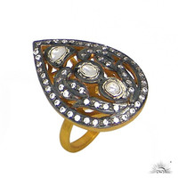 14K Yellow Gold Plated Sterling Silver Crystal Quartz Polki Cocktail Ring