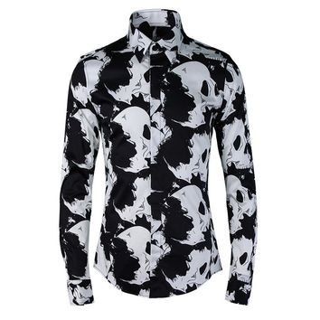 Men shirt High quality Skull print 100% cotton slim fit casual Long sleeve