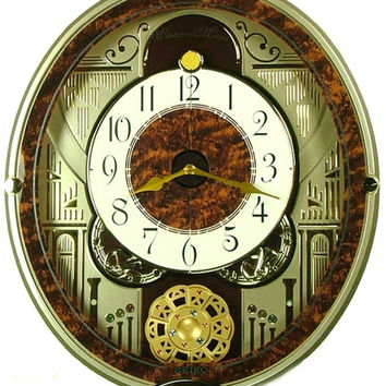 0-009583>Seiko Melodies in Motion Musical Wall Clock Silver Tone
