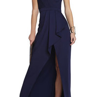 BCBG Peplum Kristine One-Shoulder Gown