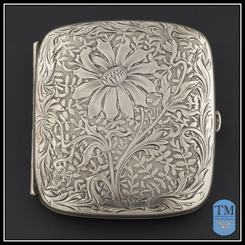 Antique Floral Engraved Sterling Silver Card Holder or Cigarette Case