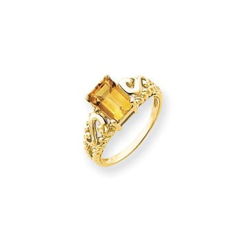 14k Yellow Gold 8x6mm Emerald Cut Citrine Ring
