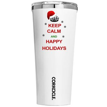 Corkcicle Keep Calm and Happy Holidays on White 24 oz Tumbler Cup