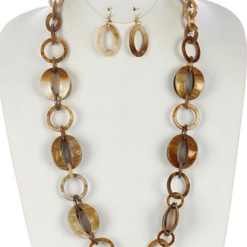 Turtoise Lucite Link Chunky Chain Necklace And Earring Set