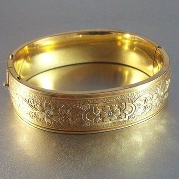 "Victorian 10k Gold Filled Bangle Bracelet, Vintage P&H Etched Floral, 5/8"" Wide Ornate, Excellent Condition, Wedding Jewelry"