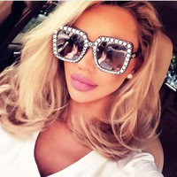 Fashion Rhinestone Inlay Oversized Square Sunglasses Women Elegant Brand Designer Big Mirror Sun Glasses For Female UV400