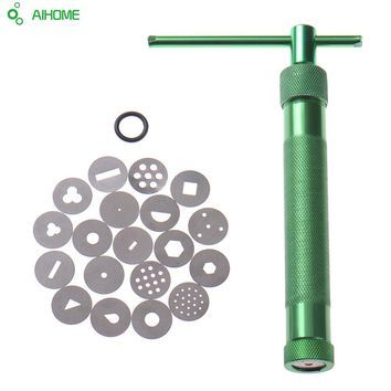 20 Discs Diskettens Stainless Steel Sugar Paste Extruder For Clay Gun Craft Fondant Cake Sculpture Polymer Baking Tools