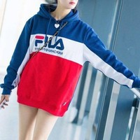 FILA Print Hooded Hoodies Pullover Sweater Top