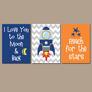 I Love You to the Moon & Back Boy Wall Art Nursery Child Quote Rocket SPACE Stars space ship Set of 3 Boy Bedroom Wall Art CANVAS or Prints