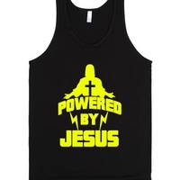 Powered By Jesus-Unisex Black Tank