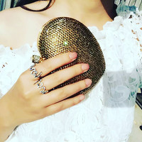 Full Rhinestone Crystal Bridal Clutch Heart Shape Clutch
